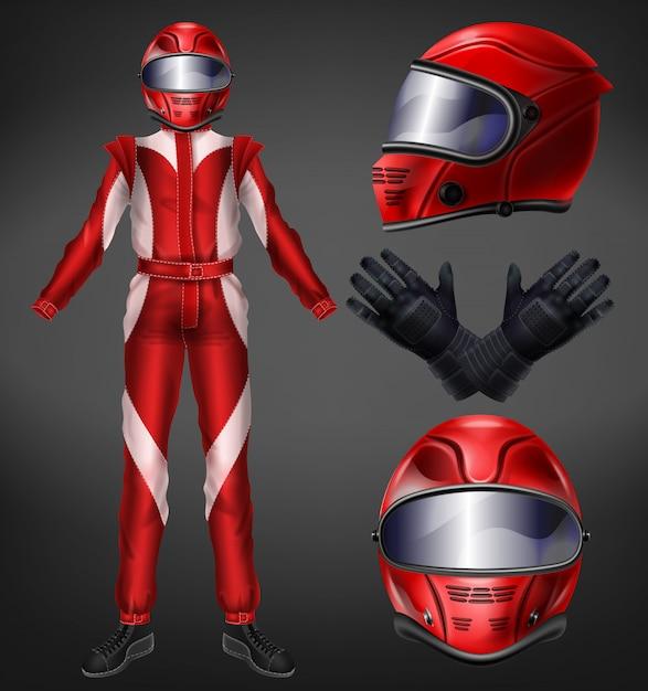 オートバイやオートレーサー、レーシングチームのドライバーのスーツ、フルフェイスヘルメット、黒い手袋、ブーツ、赤、ワンピースのオーバーオール現実的なベクトル図が黒い背景に分離保護ユニフォーム 無料ベクター