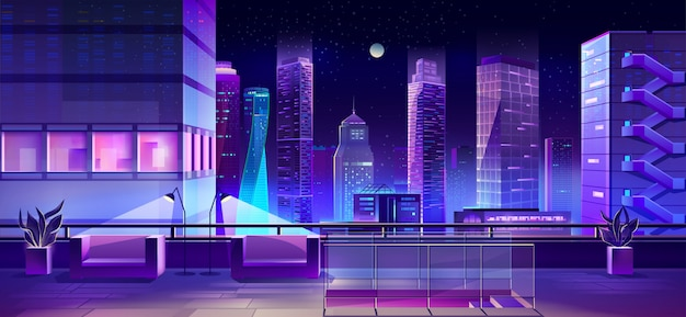 Современный город мегаполис ночью, вид на городской пейзаж Бесплатные векторы