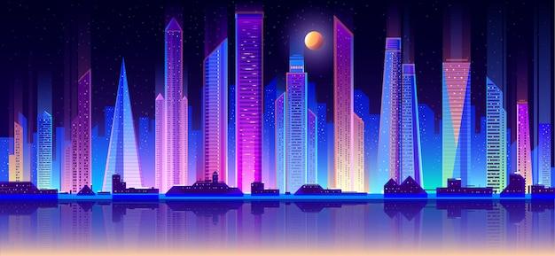 モダンな大都会の夜の街並みフラットベクトル 無料ベクター