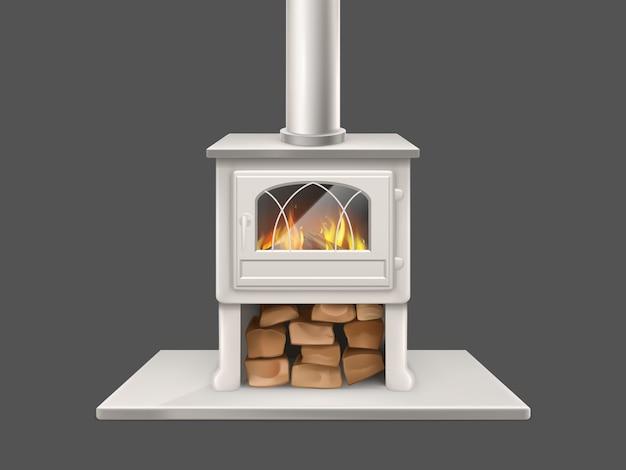 白、金属または大理石の石造りの暖炉と煙突パイプで塗装された家の暖炉 無料ベクター