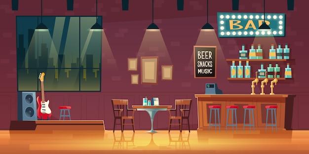 Музыкальный бар, паб мультфильм пустой интерьер с вывеской с подсветкой Бесплатные векторы