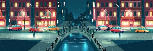Дождливая, сырая погода в ночном городке мультфильма Бесплатные векторы