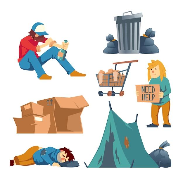 白で隔離されるホームレスの女性、男性キャラクター漫画セット 無料ベクター