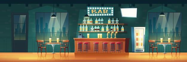 空の街のバーや夜の漫画レトロなインテリアのパブ 無料ベクター