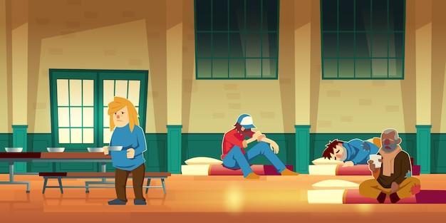 ホームレスの人々の漫画のための緊急住宅、夜間避難所、または一時的な住居 無料ベクター
