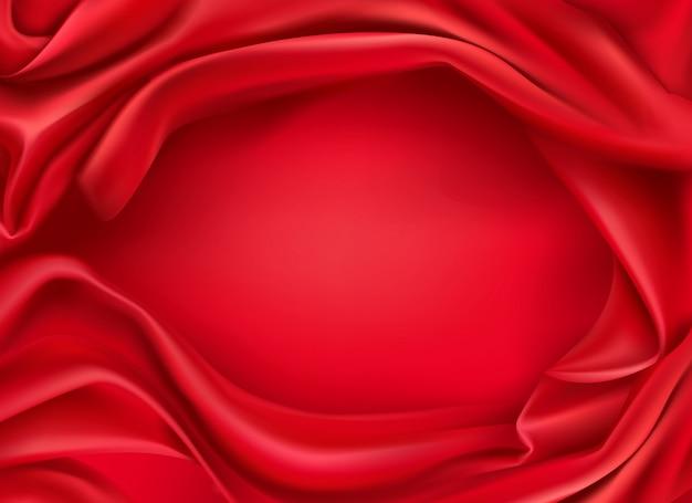 波状の赤い絹の布の現実的な背景 無料ベクター