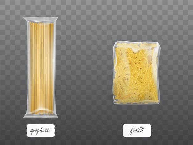 Макароны в прозрачной упаковке с сухими макаронами спагетти Бесплатные векторы