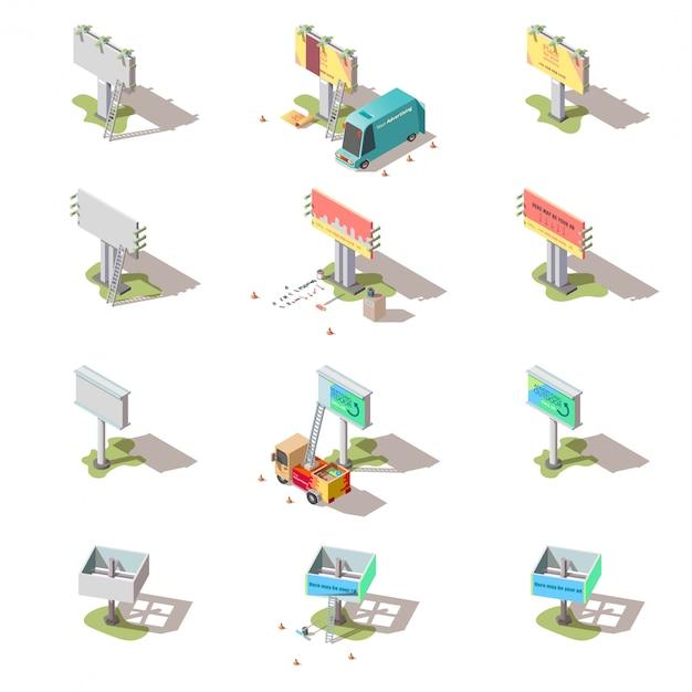 Изометрические рекламные щиты, набор рекламных уличных баннеров Бесплатные векторы
