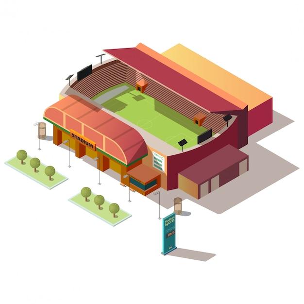 サッカースタジアムのチケットオフィス等尺性の建物 無料ベクター