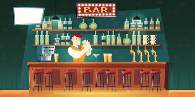 カウンターのシェーカーでカクテルを混合バーのバーマン 無料ベクター