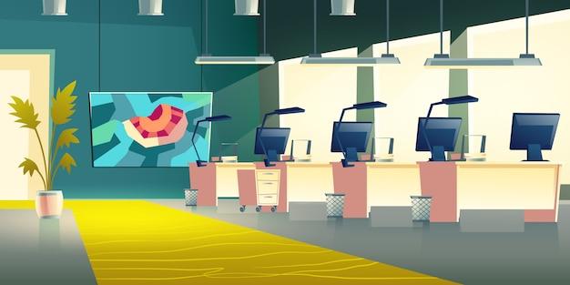 Современный интерьер офисного зала компании Бесплатные векторы