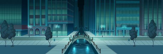 Баннер ночной набережной города Бесплатные векторы