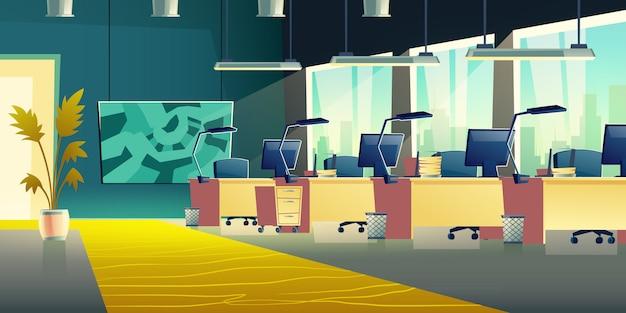 Коворкинг офисный зал баннер Бесплатные векторы