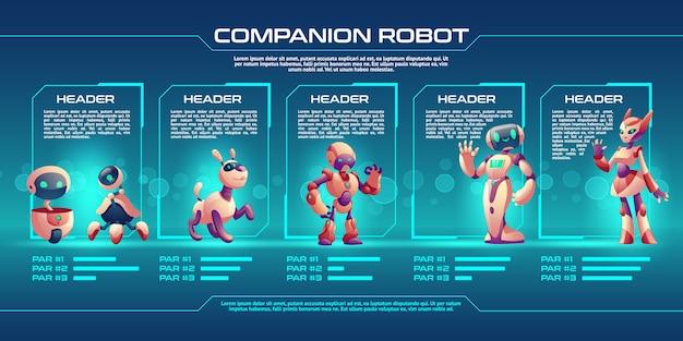 コンパニオンロボット進化タイムラインインフォグラフィック 無料ベクター