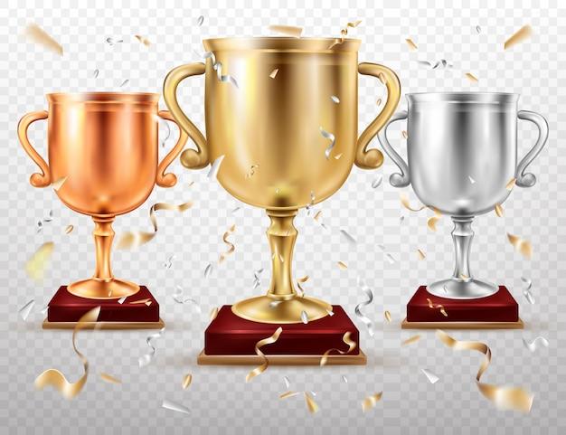 Золотые и серебряные кубки, спортивный трофей, кубки слава Бесплатные векторы