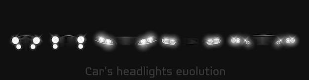車のヘッドライトの進化、輝くフロントヘッドランプバナー 無料ベクター