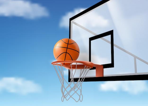 Баскетбольный мяч падает в сетку на спинке Бесплатные векторы