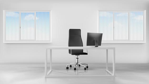 空のオフィスルームインテリア、デスクと職場 無料ベクター