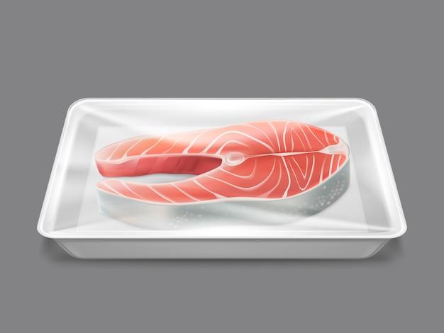 Сырая рыба, упакованная свежим стейк из лосося, морепродукты Бесплатные векторы