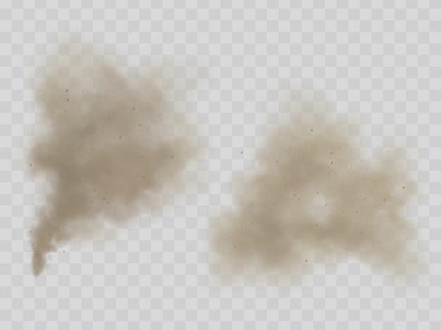 Дым или пыль облака изолированные реалистичный вектор Бесплатные векторы