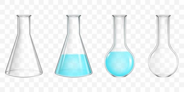 Колбы лабораторные с голубой водой реалистичные вектор Бесплатные векторы