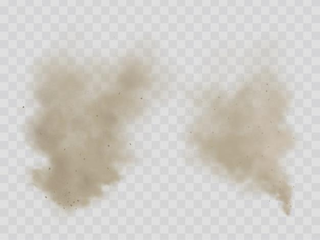 Облака пыли, дыма изолировали реалистичные векторы Бесплатные векторы
