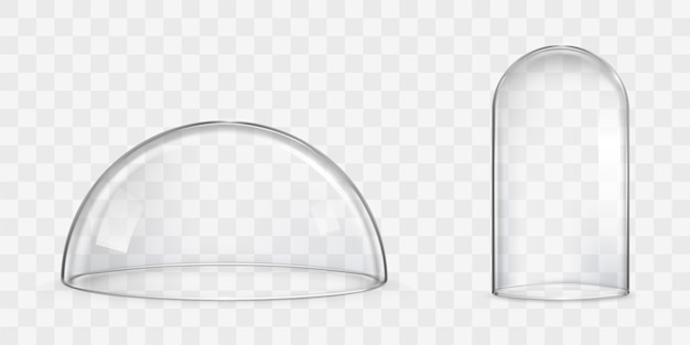 球形ガラスドーム、鐘瓶現実的なベクトル 無料ベクター