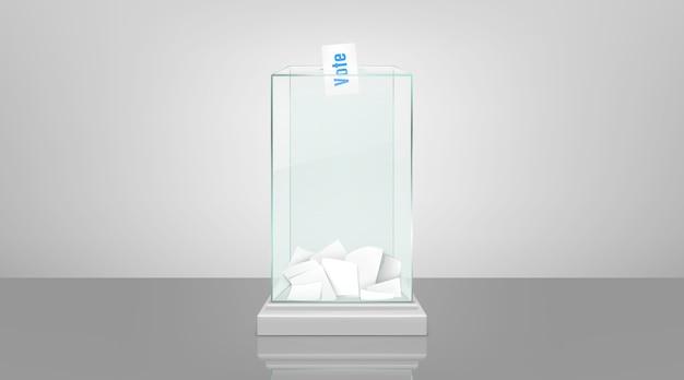 Стеклянная урна с бумагами реалистичный вектор Бесплатные векторы