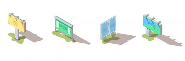Наружная реклама рекламный щит изометрические вектор набор Бесплатные векторы