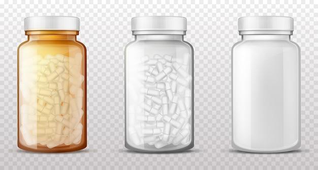 Пластиковые, стеклянные бутылки для таблеток реалистичный вектор Бесплатные векторы