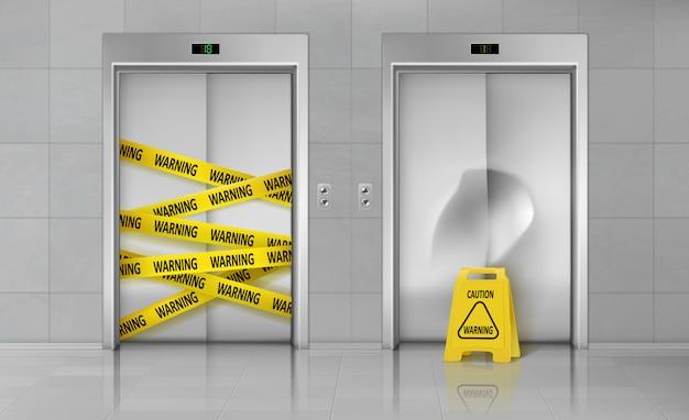 壊れたエレベーターは修理現実的なベクトルのために閉じた 無料ベクター