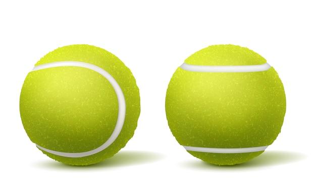 Теннисный мяч сверху, вид сбоку реалистичный вектор Бесплатные векторы