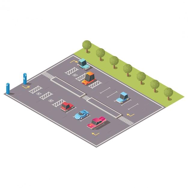 Городская парковка с ограниченными возможностями изометрической вектор Бесплатные векторы