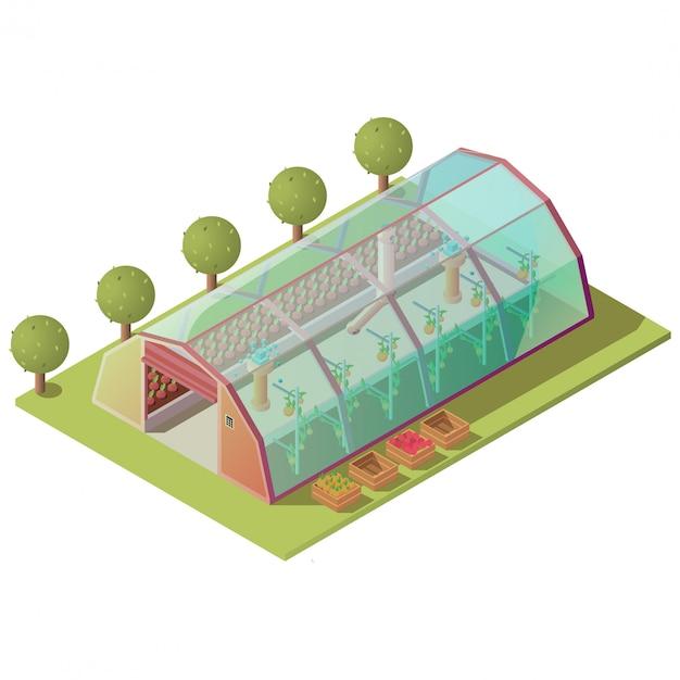 Изометрические теплицы, изолированные хозяйственные постройки Бесплатные векторы