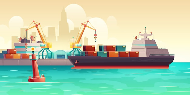 貨物船のポート漫画イラストの読み込み 無料ベクター