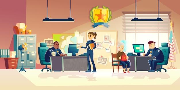 オフィス漫画ベクトルで働く警察官 無料ベクター
