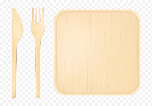 フォークとナイフの上面図のクリップアートと木製プレート 無料ベクター