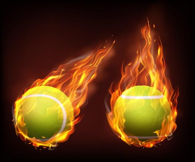 Теннисные мячи, летающие в пламени реалистичный вектор Бесплатные векторы