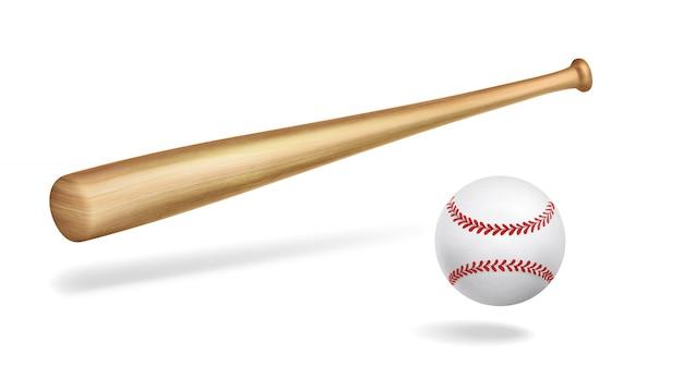 Деревянная бейсбольная бита и мяч реалистичный вектор Бесплатные векторы