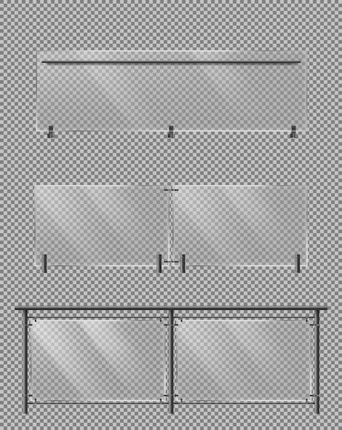 Стеклянный забор, металлические перила реалистичный набор векторных Бесплатные векторы