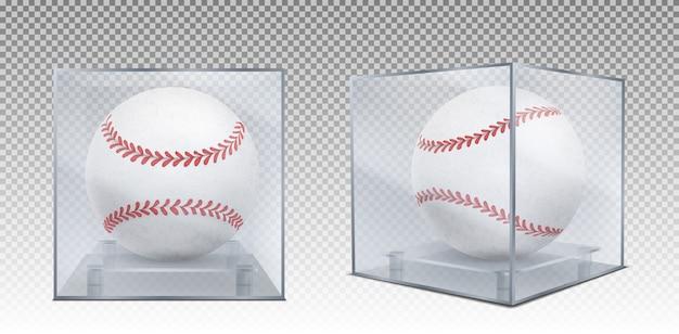 Бейсбольные мячи в стеклянном корпусе спереди и в углу Бесплатные векторы