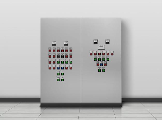 Комната подстанции. электрика оборудование, генератор Бесплатные векторы