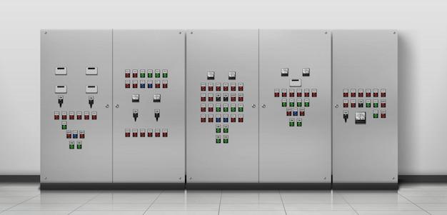 Оборудование электрика, реалистичная иллюстрация комнаты генератора Бесплатные векторы