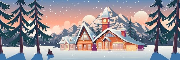 家やシャレーのイラストと冬の山の風景 無料ベクター
