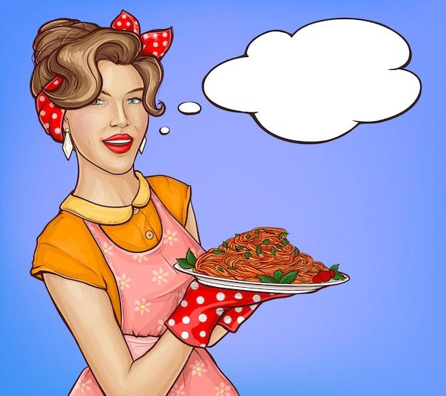 Поп-арт женщина держит поднос с макаронами и соусом иллюстрации Бесплатные векторы