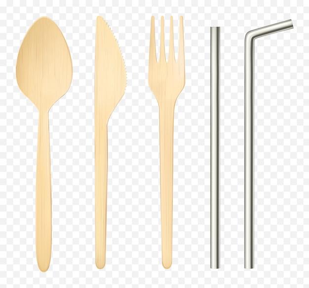 Изолированные деревянные вилка, ложка нож и стальная соломка вид сверху Бесплатные векторы