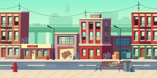 Грязная улица города иллюстрации шаржа Бесплатные векторы