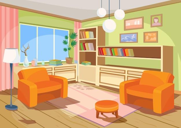 Векторная иллюстрация мультфильм интерьера оранжевой комнате для дома, гостиная с двумя мягкими креслами Бесплатные векторы