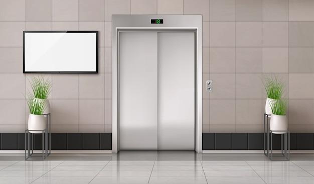 閉じたエレベーターのドアと壁にテレビ画面があるオフィスの廊下 無料ベクター