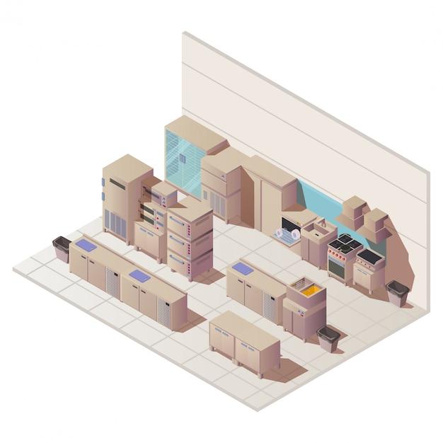 Пустой изометрической интерьер ресторана кухня иллюстрации Бесплатные векторы